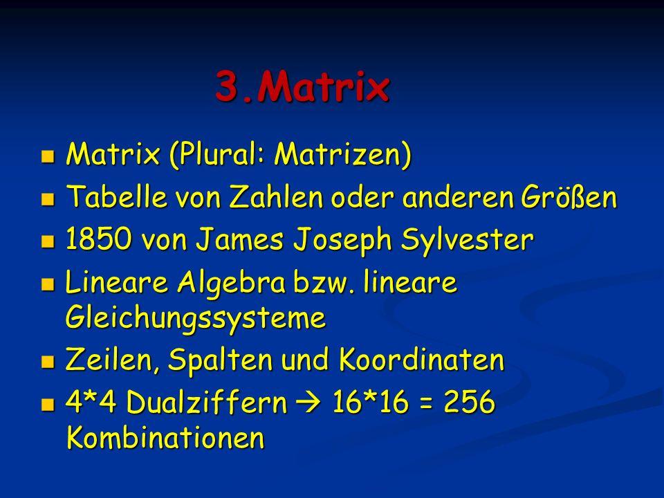 3.Matrix Matrix (Plural: Matrizen)