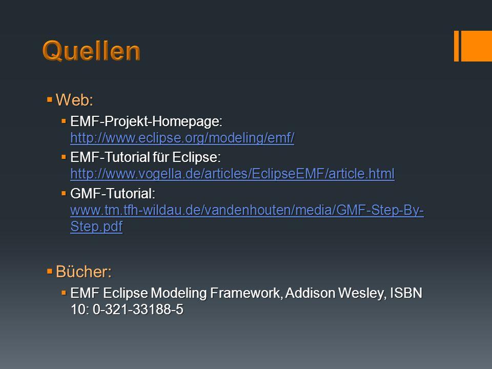 Quellen Web: EMF-Projekt-Homepage: http://www.eclipse.org/modeling/emf/