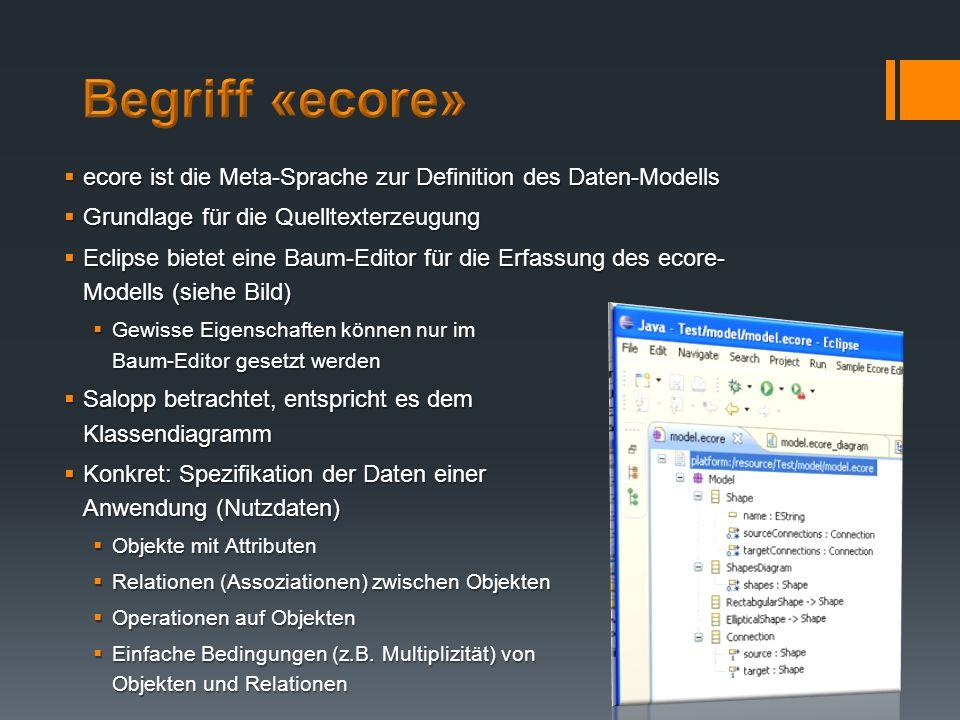 Begriff «ecore» ecore ist die Meta-Sprache zur Definition des Daten-Modells. Grundlage für die Quelltexterzeugung.
