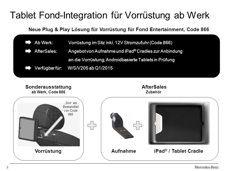 Tablet Fond-Integration für Vorrüstung ab Werk
