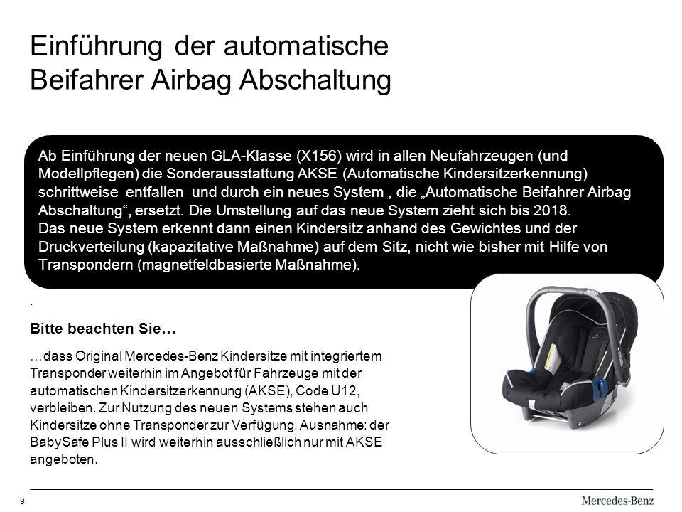 Einführung der automatische Beifahrer Airbag Abschaltung