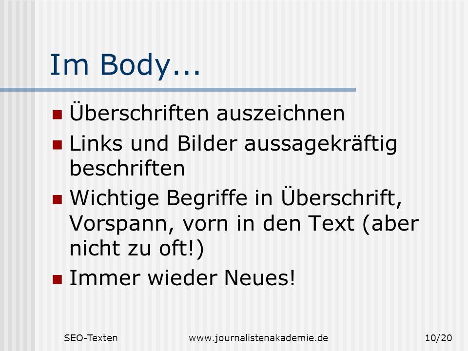 Im Body... Überschriften auszeichnen