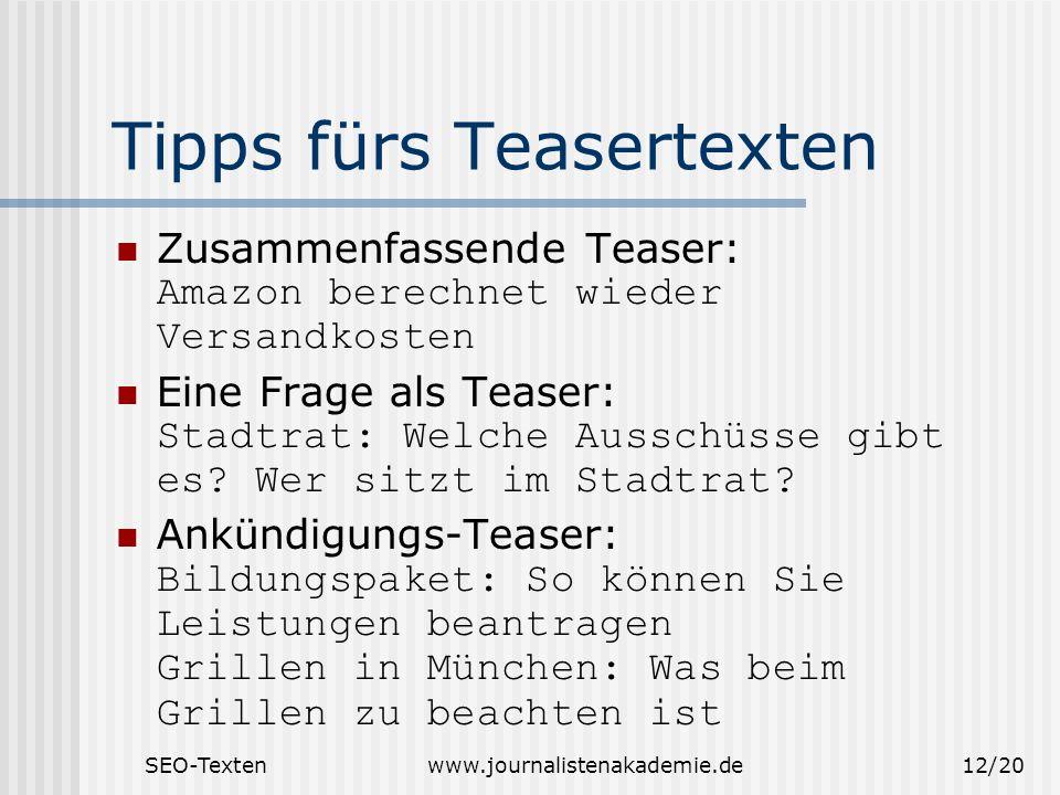 Tipps fürs Teasertexten