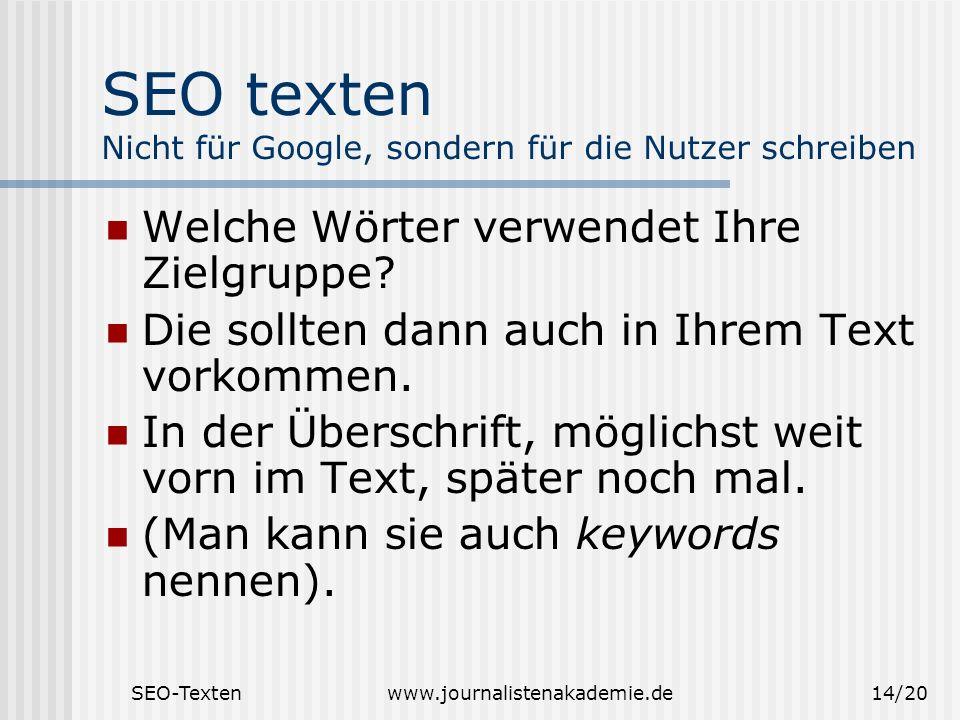 SEO texten Nicht für Google, sondern für die Nutzer schreiben