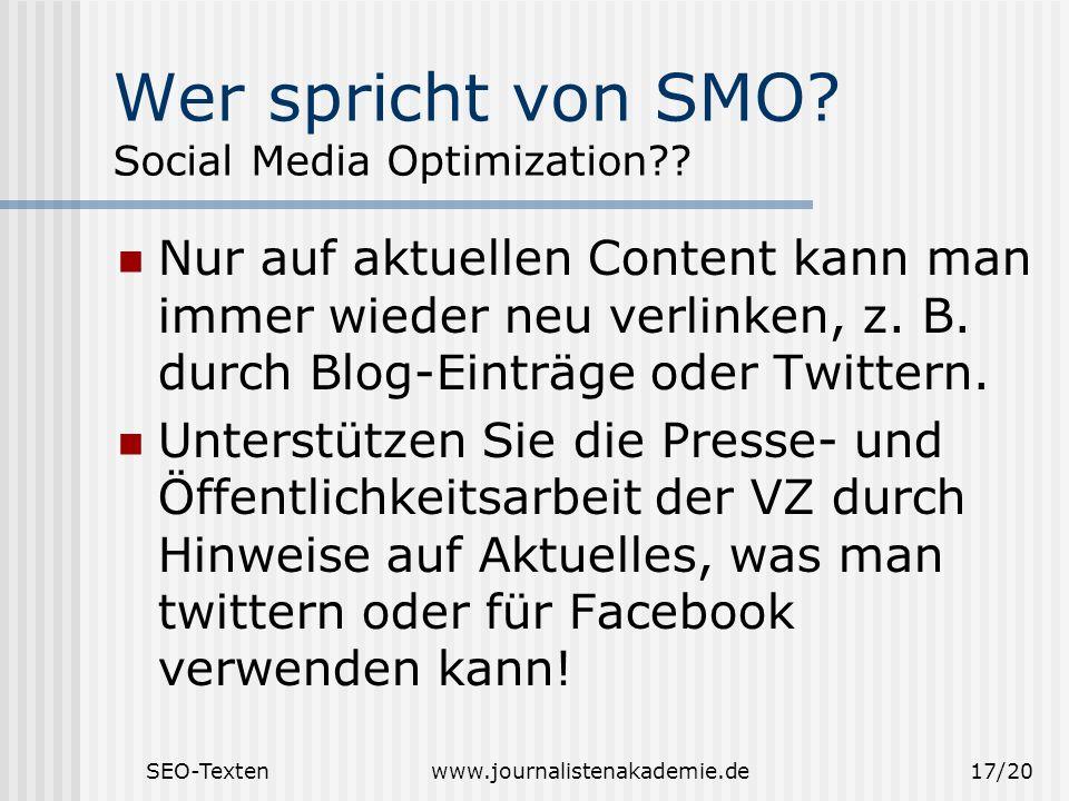 Wer spricht von SMO Social Media Optimization