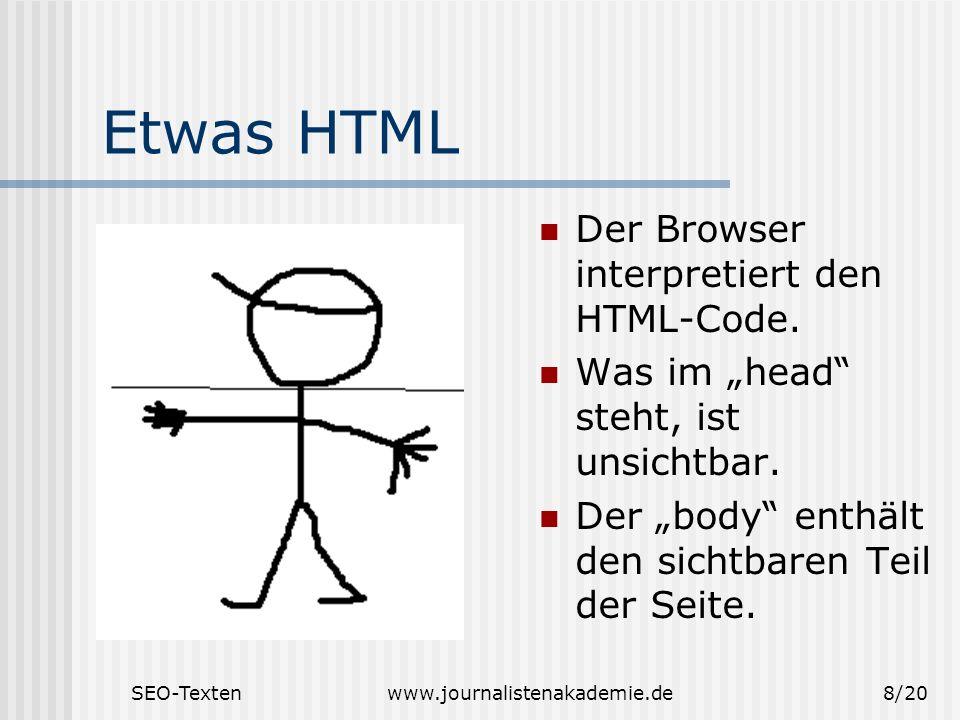 Etwas HTML Der Browser interpretiert den HTML-Code.