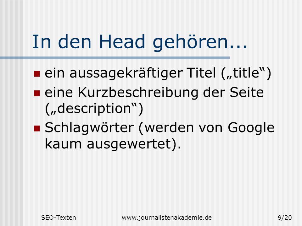 """In den Head gehören... ein aussagekräftiger Titel (""""title )"""