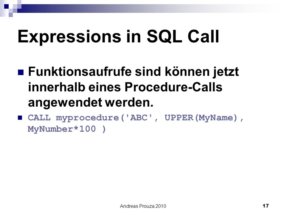 Expressions in SQL Call