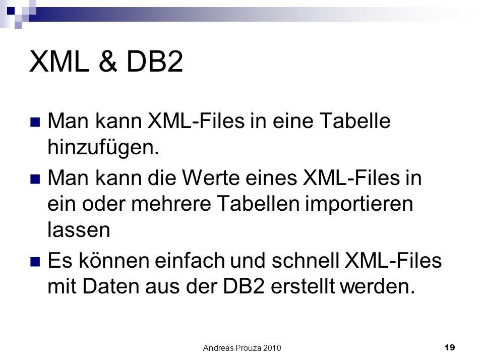 XML & DB2 Man kann XML-Files in eine Tabelle hinzufügen.