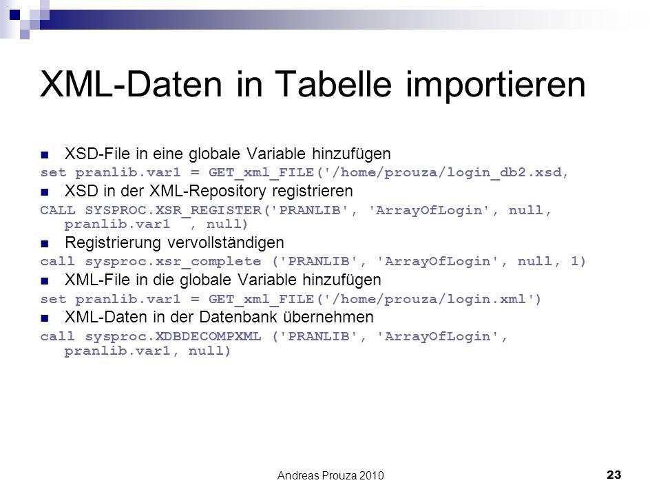XML-Daten in Tabelle importieren