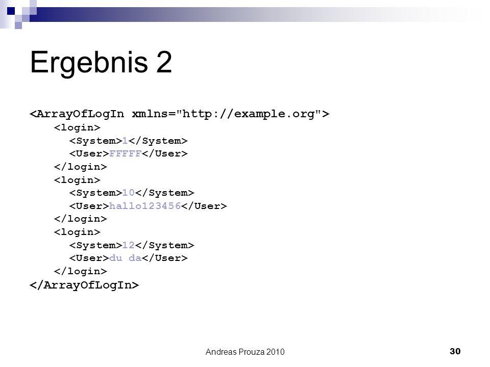 Ergebnis 2 <ArrayOfLogIn xmlns= http://example.org >