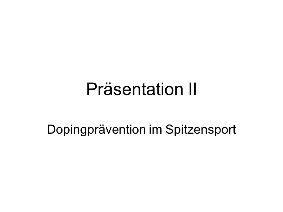 Dopingprävention im Spitzensport