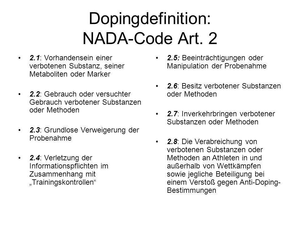 Dopingdefinition: NADA-Code Art. 2