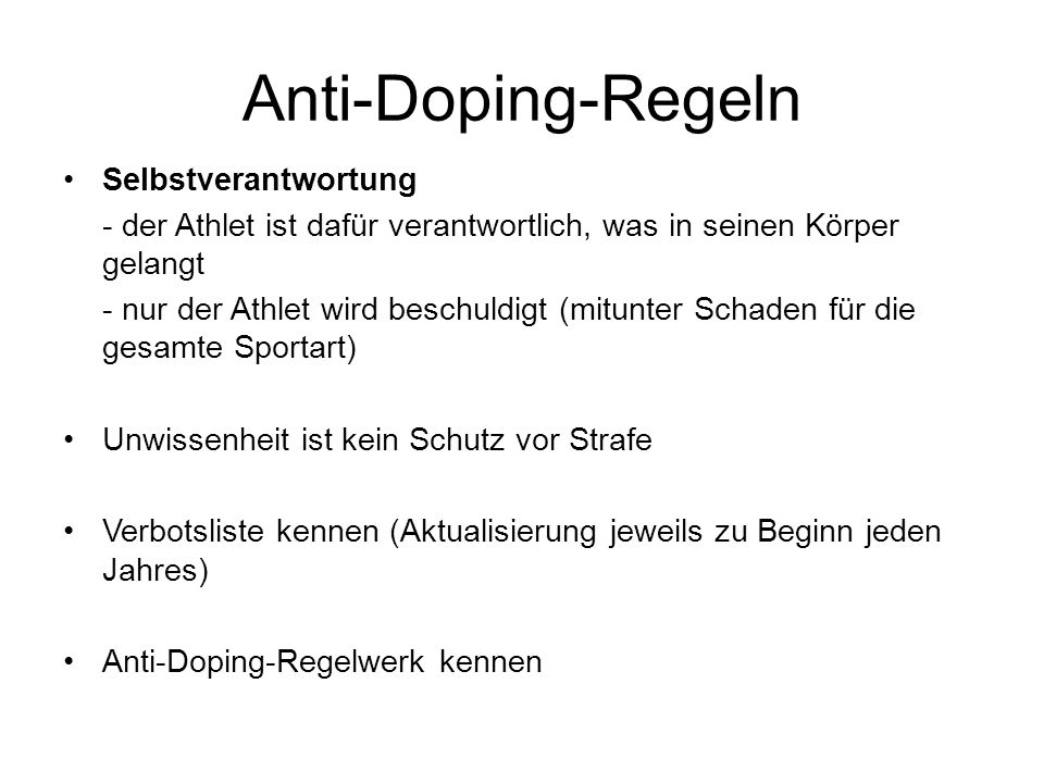 Anti-Doping-Regeln Selbstverantwortung