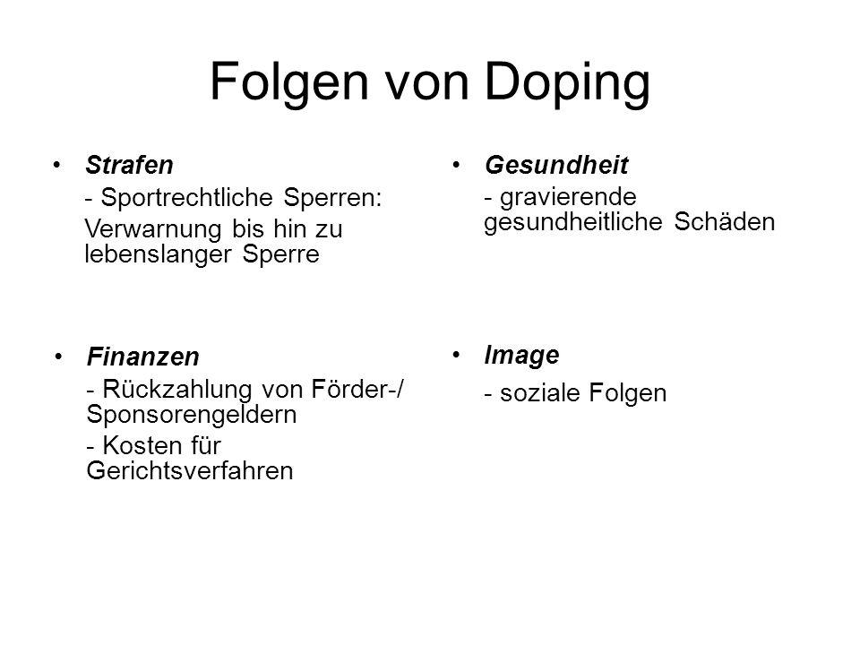 Folgen von Doping Gesundheit Strafen