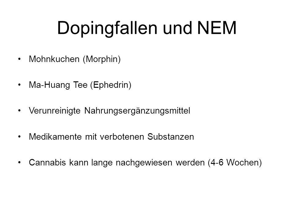 Dopingfallen und NEM Mohnkuchen (Morphin) Ma-Huang Tee (Ephedrin)