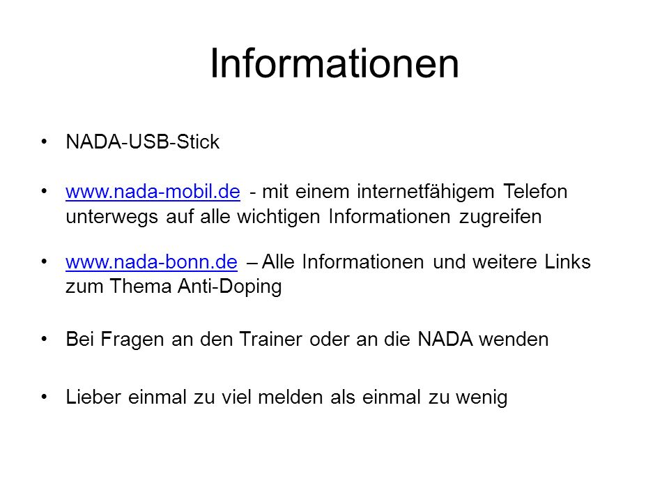 Informationen NADA-USB-Stick