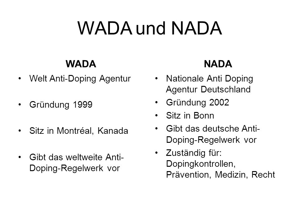 WADA und NADA WADA NADA Welt Anti-Doping Agentur Gründung 1999