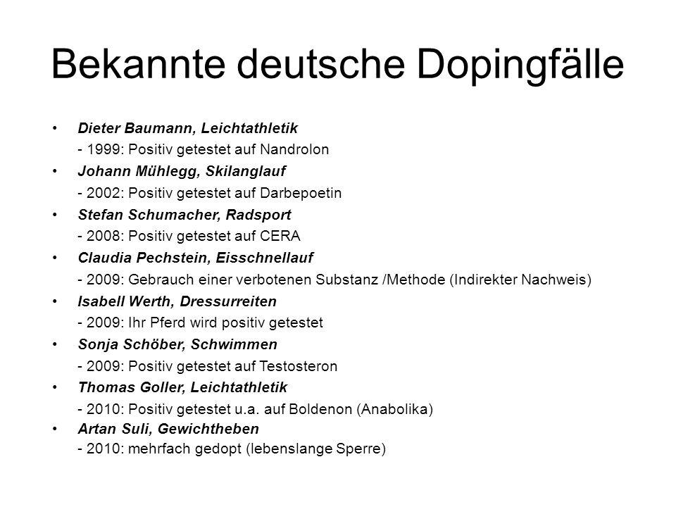 Bekannte deutsche Dopingfälle