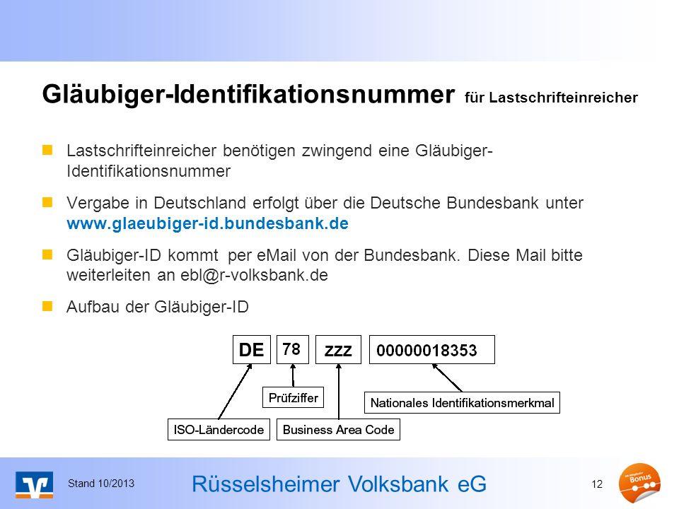 Gläubiger-Identifikationsnummer für Lastschrifteinreicher