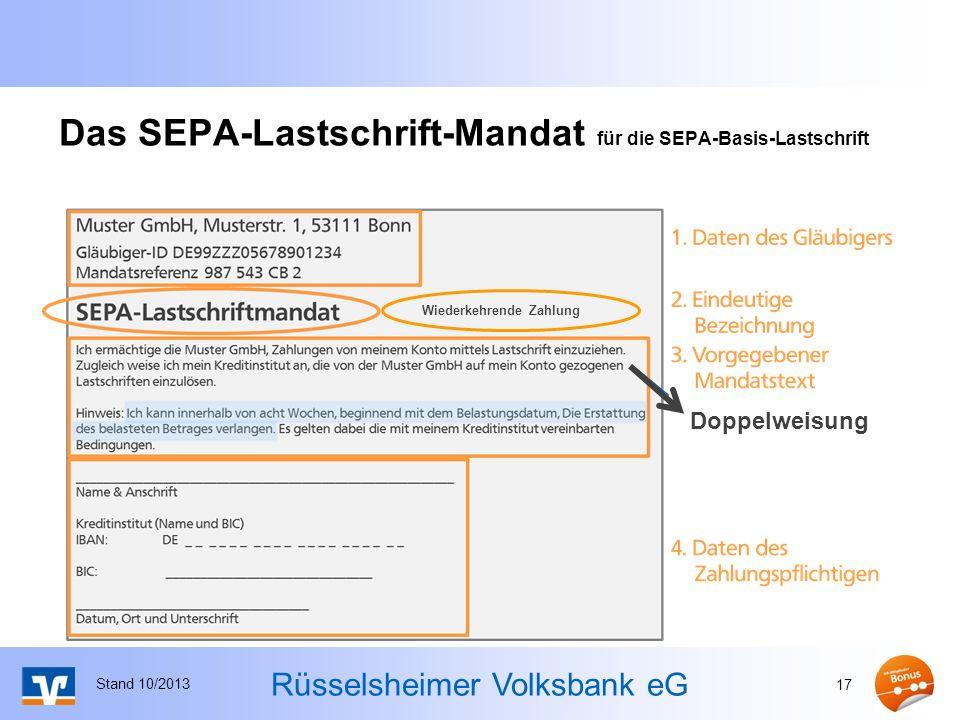 Das SEPA-Lastschrift-Mandat für die SEPA-Basis-Lastschrift