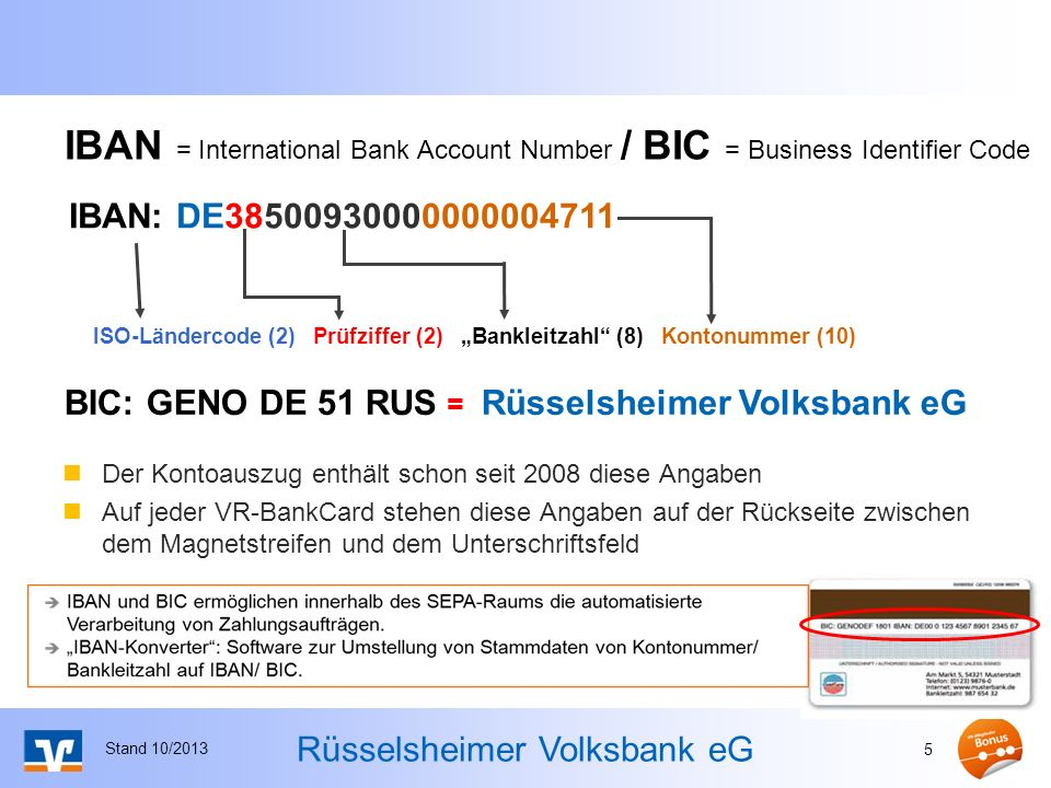 IBAN = International Bank Account Number / BIC = Business Identifier Code