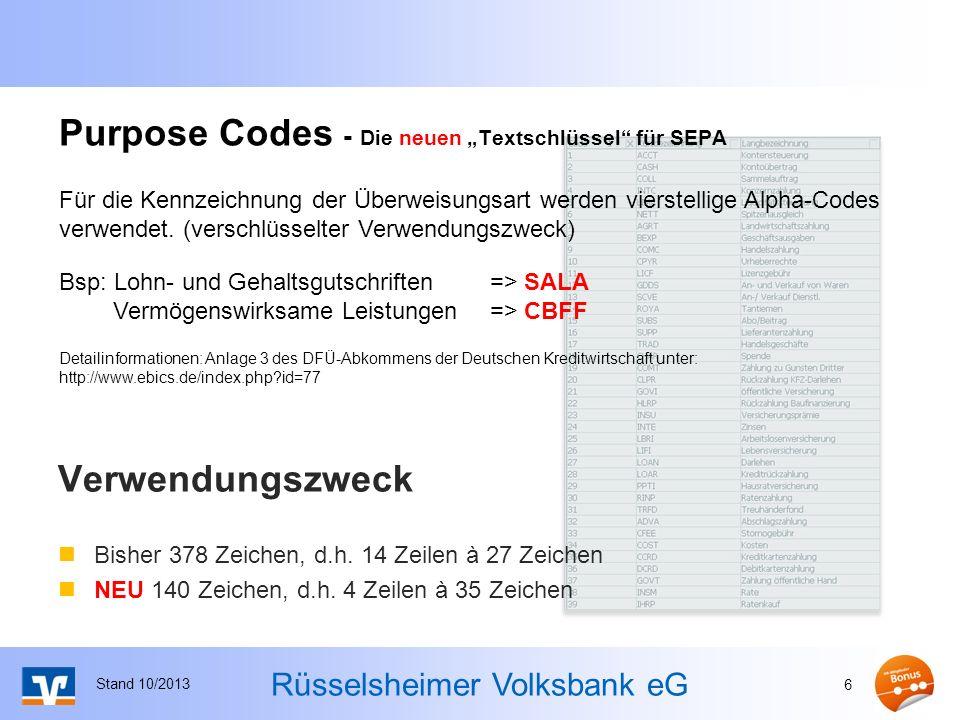 """Purpose Codes - Die neuen """"Textschlüssel für SEPA"""