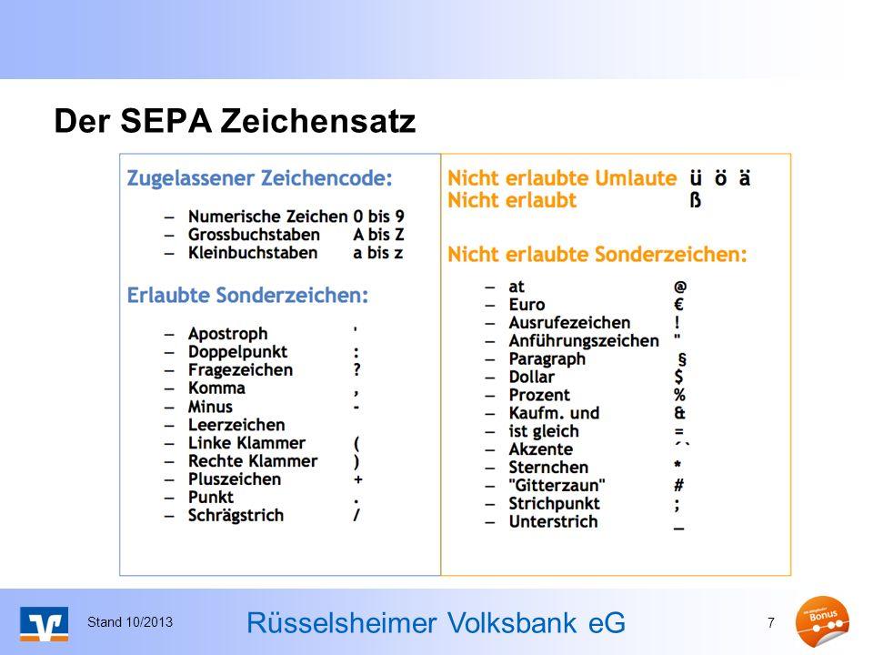 Der SEPA Zeichensatz Stand 10/2013