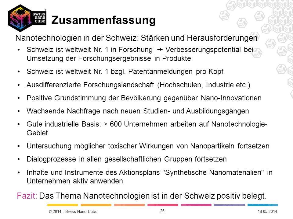 Zusammenfassung Nanotechnologien in der Schweiz: Stärken und Herausforderungen.