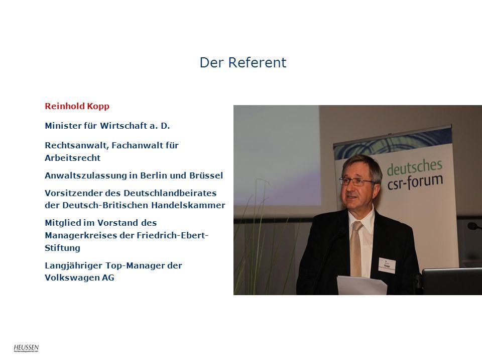 Der Referent Reinhold Kopp Minister für Wirtschaft a. D.