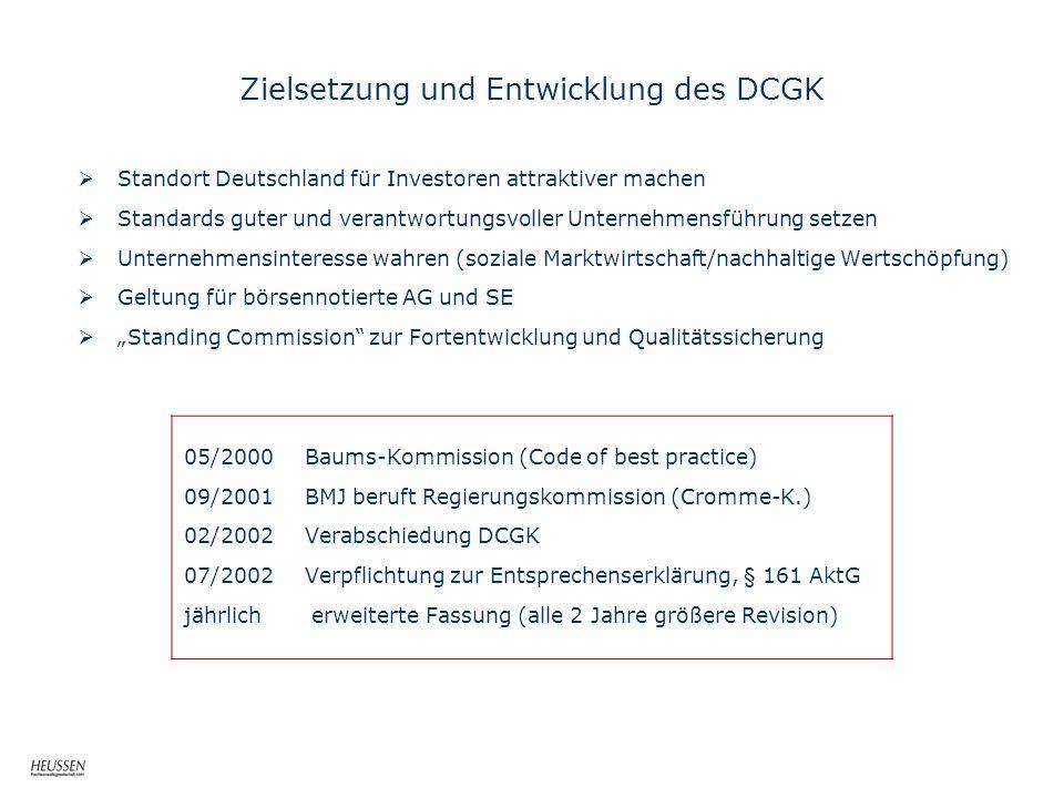 Zielsetzung und Entwicklung des DCGK
