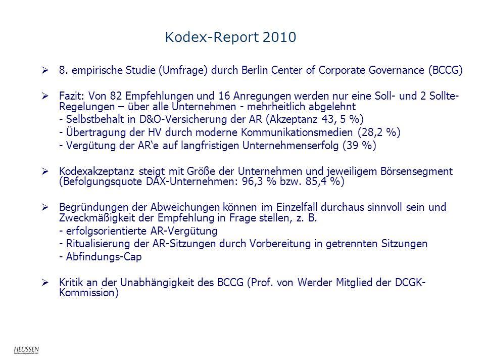 Kodex-Report 2010 8. empirische Studie (Umfrage) durch Berlin Center of Corporate Governance (BCCG)