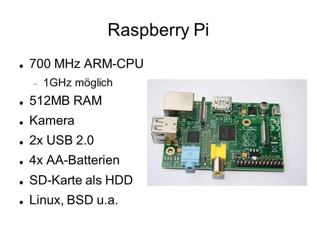 Raspberry Pi 700 MHz ARM-CPU 512MB RAM Kamera 2x USB 2.0