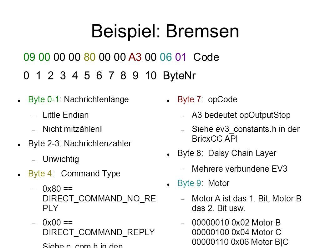 Beispiel: Bremsen 09 00 00 00 80 00 00 A3 00 06 01 Code