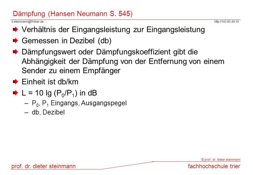 Dämpfung (Hansen Neumann S. 545)