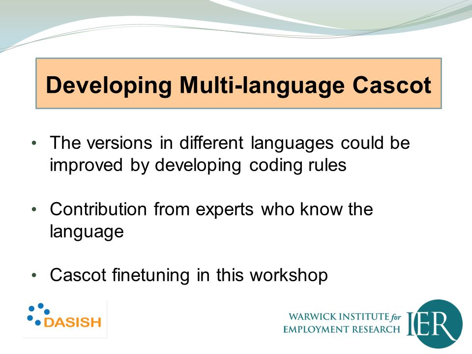 Developing Multi-language Cascot