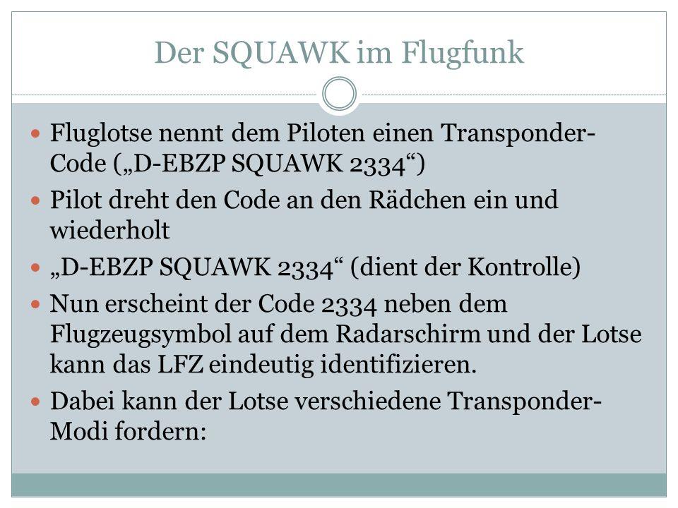 "Der SQUAWK im Flugfunk Fluglotse nennt dem Piloten einen Transponder-Code (""D-EBZP SQUAWK 2334 )"