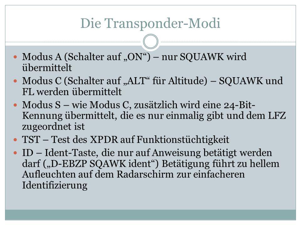 """Die Transponder-Modi Modus A (Schalter auf """"ON ) – nur SQUAWK wird übermittelt."""