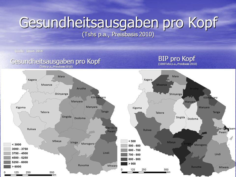 Gesundheitsausgaben pro Kopf (Tshs p.a., Preisbasis 2010)