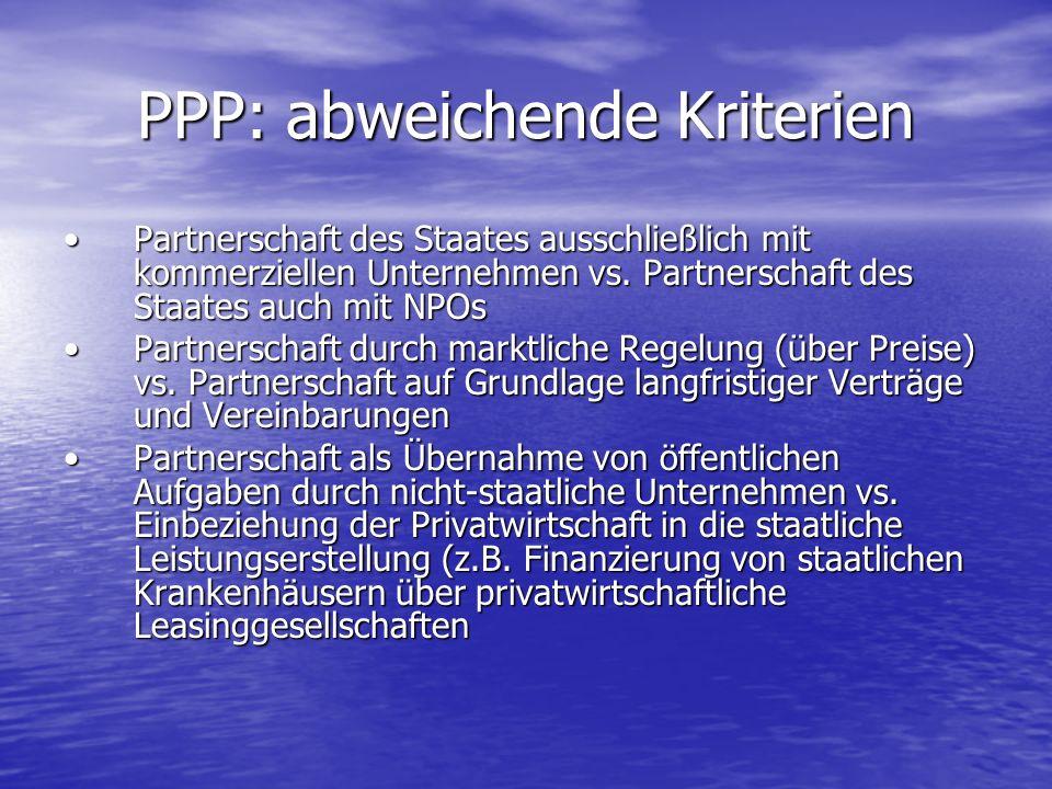 PPP: abweichende Kriterien