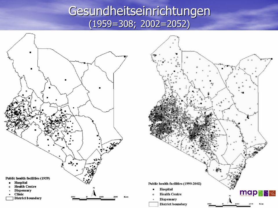 Gesundheitseinrichtungen (1959=308; 2002=2052)