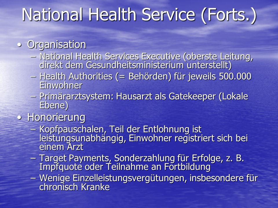 National Health Service (Forts.)