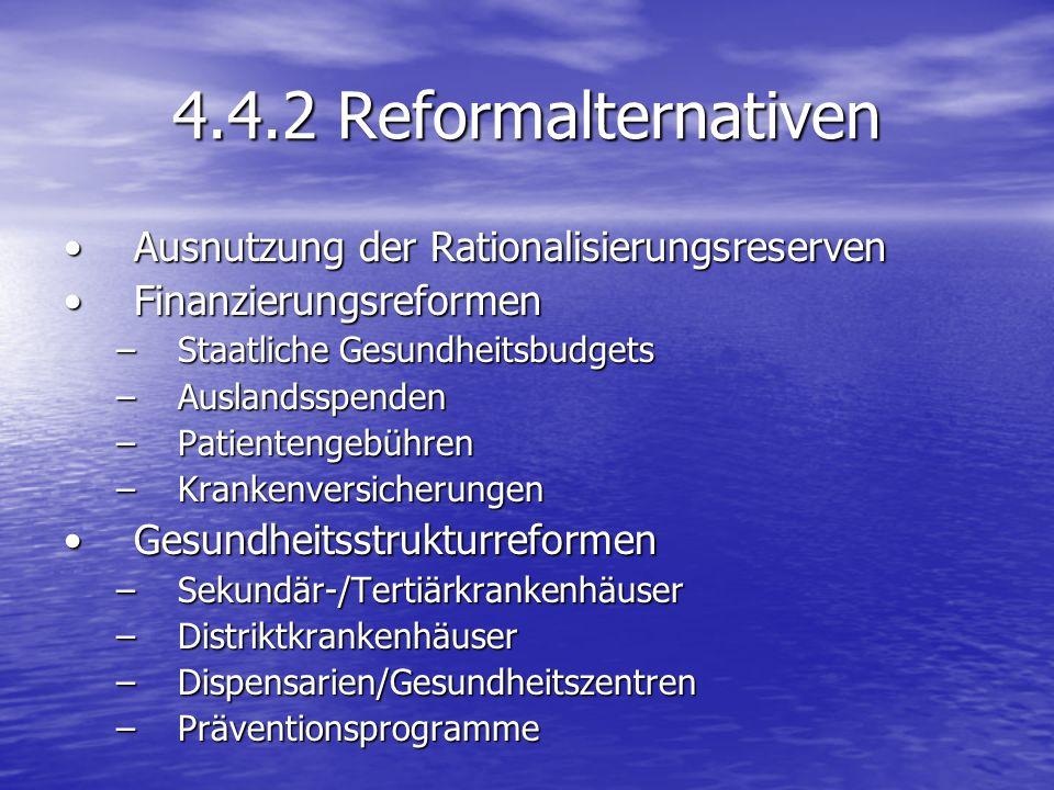 4.4.2 Reformalternativen Ausnutzung der Rationalisierungsreserven