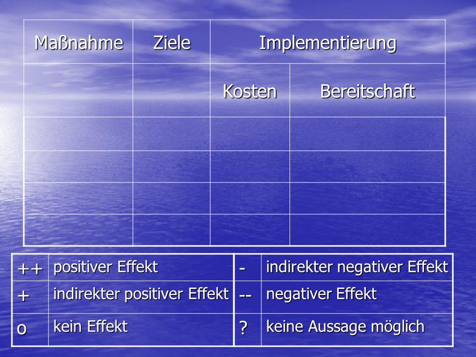 Maßnahme Ziele Implementierung Kosten Bereitschaft ++ + o - --