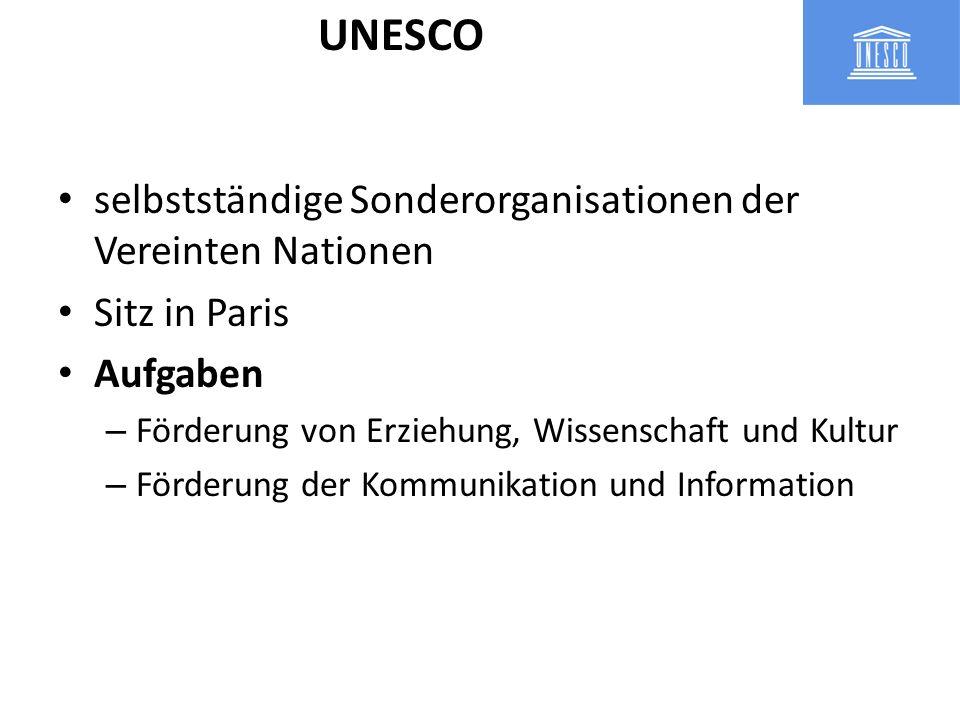 UNESCO selbstständige Sonderorganisationen der Vereinten Nationen