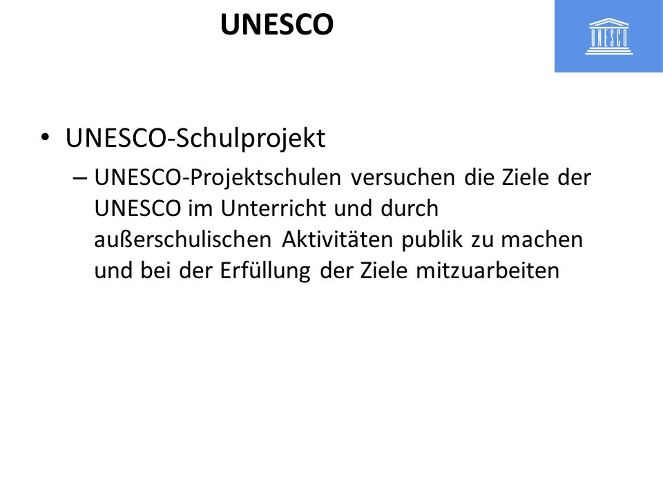 UNESCO UNESCO-Schulprojekt