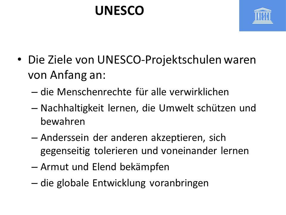 UNESCO Die Ziele von UNESCO-Projektschulen waren von Anfang an: