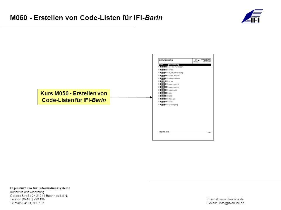 Kurs M050 - Erstellen von Code-Listen für IFI-BarIn
