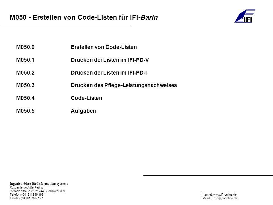 M050.0 Erstellen von Code-Listen