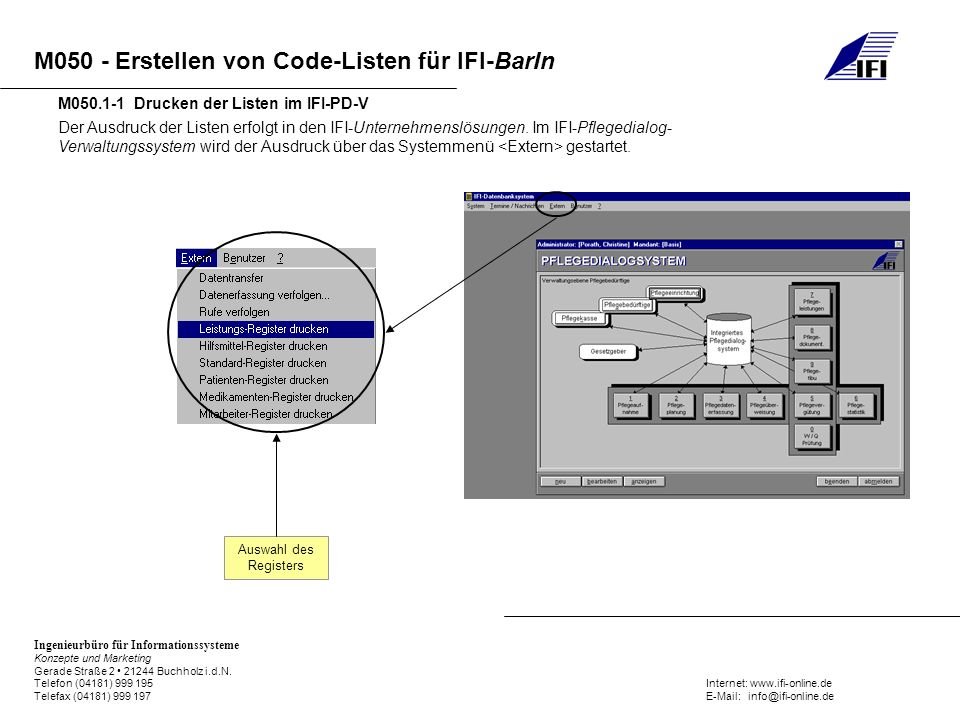 M050.1-1 Drucken der Listen im IFI-PD-V
